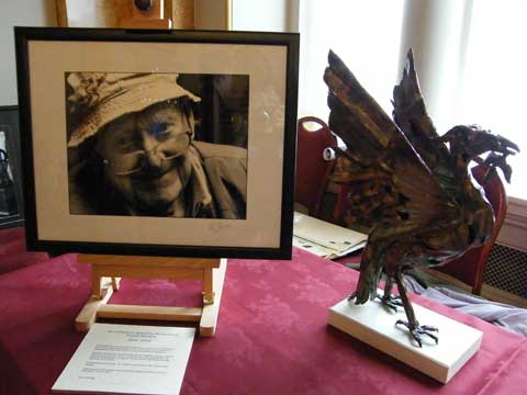 Photo of Frank Hendry by Jim Connolly and Sculpture by Tony Evans