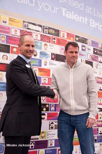 Jamie Carragher after unveiling the Talent Wall