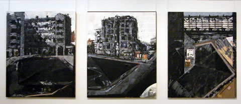 Pete Clarke. Liverpool Gardens Triptych 1982. Myrtle Gardens, The Closure, Caryl Gardens