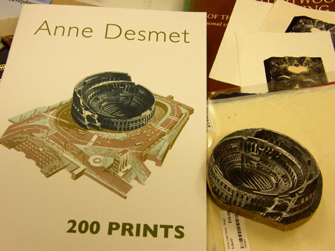 Anne Desmet print with the original woodblock