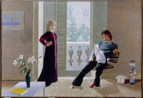 "David Hockney, Mr and Mrs Clark and Percy, 1970-71, Acrylic on canvas, 84 x 120"", © Tate, London 2008/ © David Hockney"
