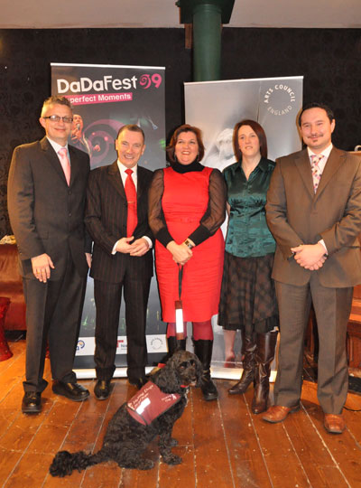 Gary Timperley (DaDa), Cllr Gary Millar, Routh Gould with her dog (DaDa), Alex Turner (Arts Council) and Dino Moutsopoulos (CUC)