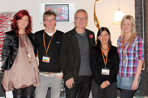 Kirsty Doyle (Fashion designer), Mike Cloke (product designer and runner up in BBC Design For Life), Andrew Collinge (launch event sponsor and celebrity hair stylist), Tara Badami (director Design Initiative), Ilsa Parry (product designer and winner of BBC Design For Life) Launch of Liverpool Design Festival Friday 30 Oct in Crypt Hall, Metropoilitan Cathedral, Liverpool