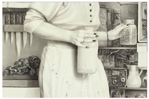 Laurie Lipton - 'Off', detail - (2008) Size: 124 x 93.5 centimeters - charcoal and pencil on paper