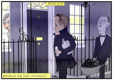 Guardian Cartoon 31/12/09: The English New Years Eve tradition of opening your door at midnight to a tall dark stranger bearing salt, bread and coal takes on a whole new light. Especially with a General Election looming, PM Gordon Brown behind in the polls and the stranger is David Cameron leader of the opposition!