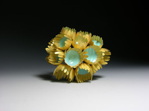 Jacqueline Ryan  Sea Brooch, 2008  18ct gold and vitreous enamels  Height 65mm Width 65mm Depth 40mm  Courtesy The Scottish Gallery