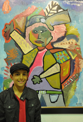 Hamad al-Humaidham and his painting 'After School'