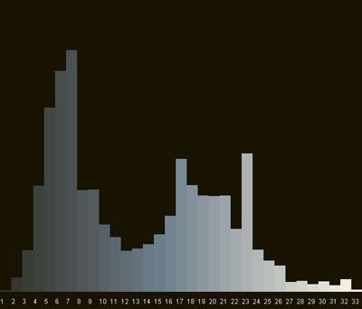 Rate of regularity that squares 1-33 occur in the painting represented as a bar graph of the grey scale.