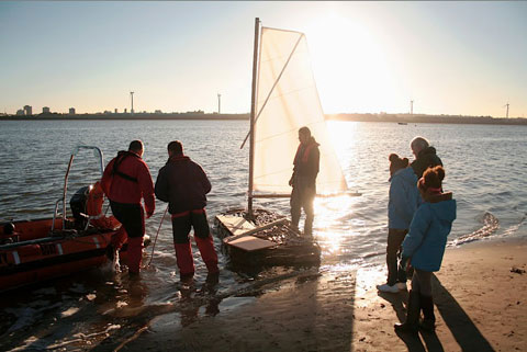 Antti Laitinen Sails His Bark Boat Across The Mersey