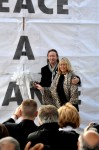 Julian and Cynthia Lennon cut the ribbon - photo © Minako Jackson