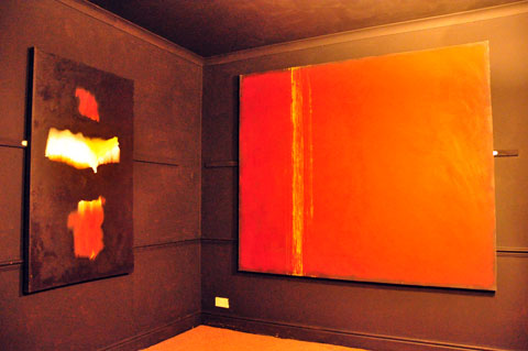 Simon A Yorke's paintings in the 'Black Room'