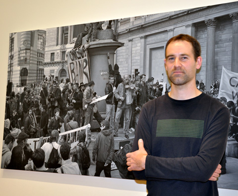 Nicholas Middleton and his painting 'Protest, April 1st 2009' - photo by Minako Jackson