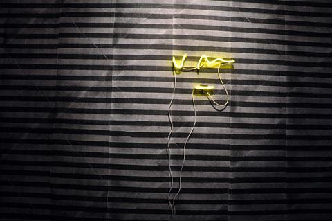 Untitled Wallpaper and 'um' neon - Noel Clueit