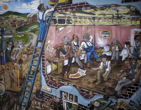Ragged Trousered Philanthropists at work (Artwork by Alan Murray)