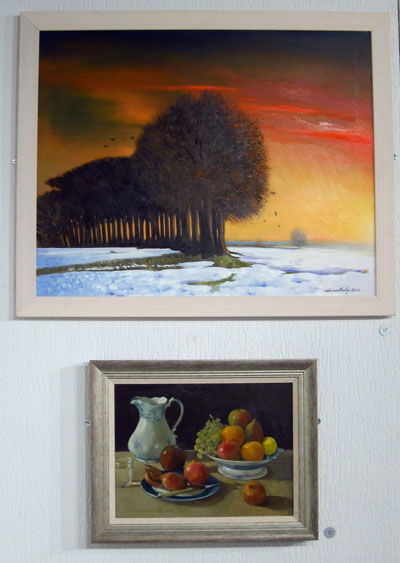 Freezing Hill and Still life with pomegranates by Adrian Bailey