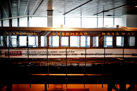 Liverpool Overhead Railway - platform level. Visitors will be able to step inside.