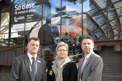 Liverpool Lime Street Station Manager Paul Spiers (left) with Fiona Philpott from National Museums Liverpool and Nigel Dove from NWDA.