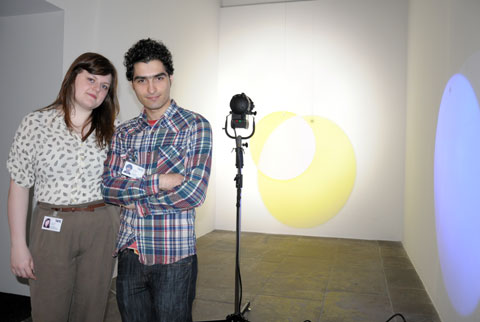 2 of the young Tate curators - Sarah Creed and Rauf Rashidi with Olafur Eliasson's Yellow Versus Purple