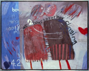 "We Two Boys Together Clinging, 1961, Oil on board 48 x 60"" © David Hockney Collection Arts Council, Southbank Centre, London. Photo credit: Prudence Cuming Associates"