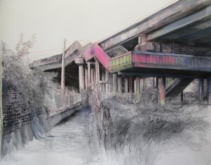 Laura Oldfield Ford M6 Junction 9, Bescot 2011, chalk, acrylic & ink on watercolour paper.  Collection of Moses Luski