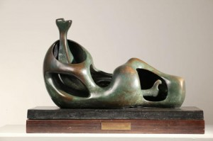 Henry Moore, Working Model for Reclining Figure Internal/External Form 1951. Arts Council Collection, Southbank Centre, London © The Henry Moore Foundation. Reproduced by permission of The Henry Moore Foundation.