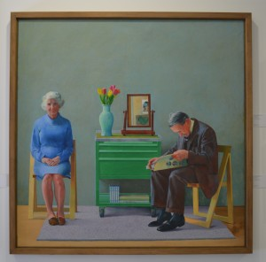 David Hockney, My Parents, 1977. Oil paint on canvas, 1829x1829mm, frame: 1940x1941x85mm. Tate. Purchased 1981