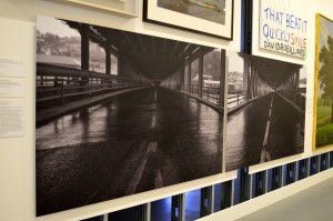 Willie Doherty, The Bridge, 1992. 2 photographs, black and white, on paper mounted onto aluminium panel. 1220x1830mm, Tate. Purchased 2003