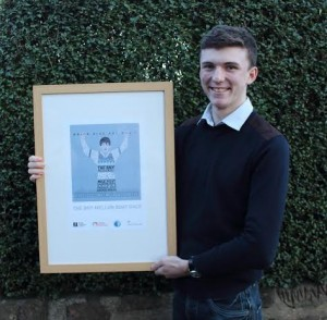 Connell Makepeace, 18, Merseyside, with his BNY Mellon Boat Race winning poster