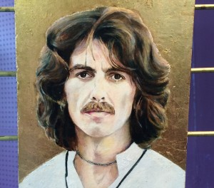 George Harrison by Deirdre Foy, oil on Dutch metal.