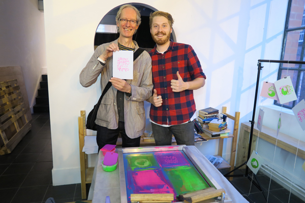 Co-organiser Scott Duffey helped us with some screen printing.