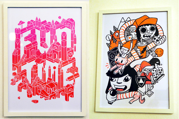 Screenprints by Stephen Chan (left) and Tomas Cummins (right)