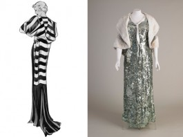 (left) Fashion illustration for George Henry Lee Co by illustrator Winifred Aileen Brown and (right) Evening dress cotton net and metallic sequins about 1935 Shoulder cape silver lame and rabbit fur 1930s National Museums Liverpool