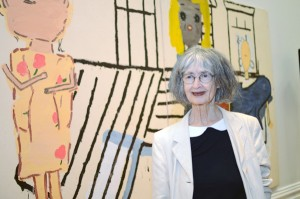 Rose Wylie, winner of the John Moores Painting Prize 2014 in front of her winning work, PV Windows and Floorboards