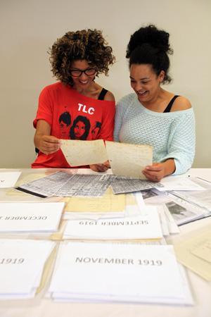 Sharon Lane and Janaya Pickett look at the archive