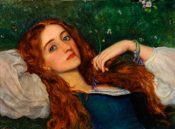 Arthur Hughes: In The Grass. Pre-Raphaelites