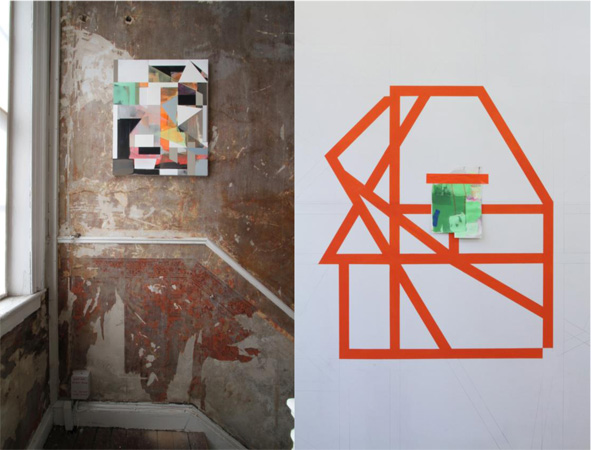 Left: Andrew Bick, OGVDS-GW [WTF], 2008-2014, installed at &Model, Leeds, June 2014 Right: Andrew Bick, Studio Wall drawings test #1, 2015, studio view, September 2015