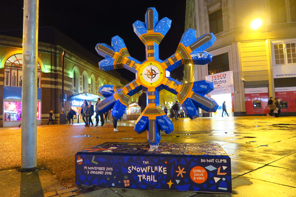 Snowflake in Clayton Sq. by Sophie Green. Photo by artinliverpool