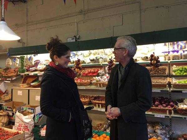 Artists Haleh Jamali and Jeff Young in K&N Greengrocers