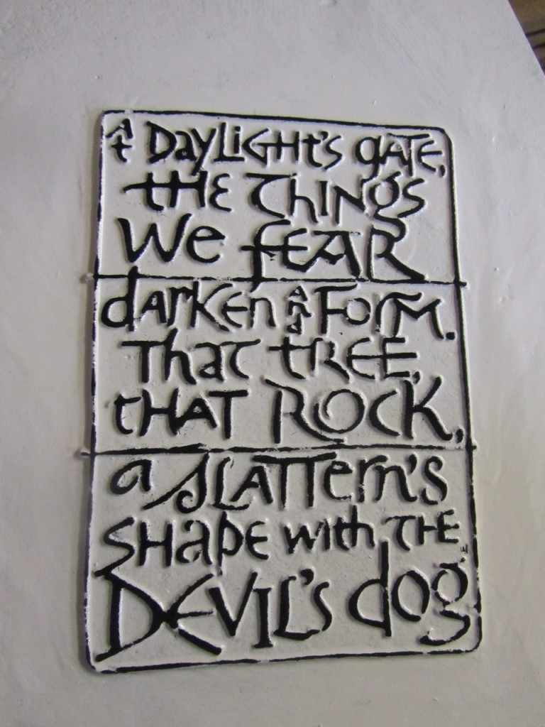 Detail of Lancashire Witches 400 Tercet, featuring part of the poem by Carol Ann Duffy designed by Textual artist Stephen Raw 2012, commissioned by Green Close www.greenclose.org