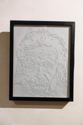 Keiron Finnetty. 'Albert Einstein'. Engraving on Glass