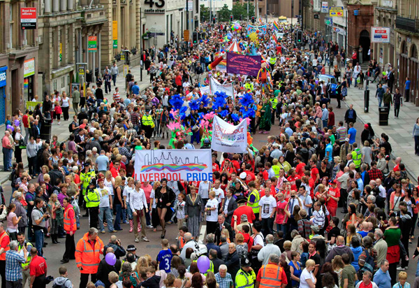 Liverpool Pride March. Photo: Jeb Smith