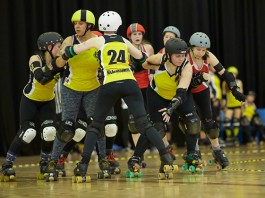 Liverpool Roller Birds Sisters of Mersey A team playing against Aberdeen - copyright Roller Derby On Film