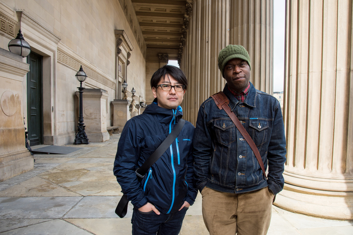 Koki Tanaka with Emeka Onuora, original participant of the Youth Training Scheme Protest in Liverpool Photo: Mark McNulty. Courtesy of Liverpool Biennial