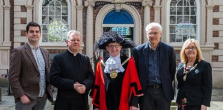 From left to right: Gavin Davenport, Project Manger for My Bluecoat, Reverend Dr Crispin Pailing, Rector of Liverpool, Councillor Tony Concepcion, Lord Mayor of Liverpool, Bryan Biggs, Artistic Director at Bluecoat and Ann Concepcion, The Lady Mayoress of Liverpool.