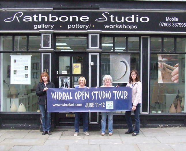 Linda Evans, Anita Varey, Janet Holmes and Jean Maskell at Rathbone Studio