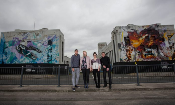 A giant piece of street art featuring Leon Rossiter, Lapsley, Katherine Rose Morley and Louis Berry and the cult game WipeOut is painted outside the Littlewoods building in Liverpool by Local artists Replete and Beta. Photo c. Fabio DePaola/PA Wire