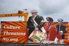'No Threat' Loyalist mural, Culture threatens no one, Pitt Park, Newtownards Road, East Belfast, 2016. Tony Crowley