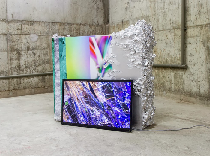 Neverwet (dreama), video 9mins 34secs, Neverwet (dry fold), plinth 135x35x35cm, Kinman Gallery, Adham Faramawy, 2013 copy