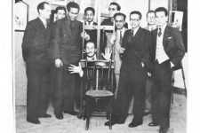 Some of the Art and Liberty group members at their second exhibition of independent art in Cairo 1941.  Gelatin silver print 12 x 17 cm   Front (from left to right): Jean Moscatelli, Kamel el-Telmissany, Angelo de Riz, Ramses Younan, Fouad Kamel. Back (from left to right): Albert Cossery, Maurice Fahmy, Georges Henein, unidentified, Raoul Curiel © The Younan Family Archive.