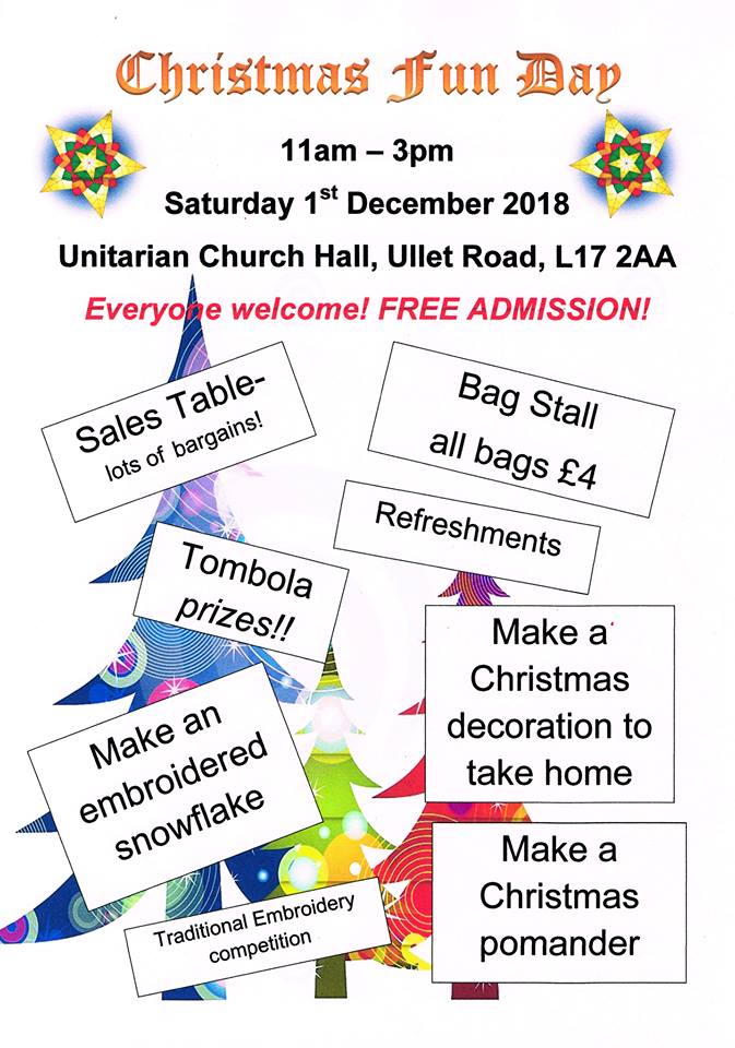 Unitarian Church: Merseyside Embroiderers' Christmas Fun Day